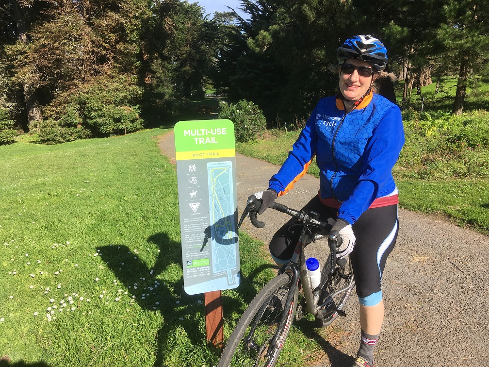 Image of GGP Pilot Sign and trail and bicyclist
